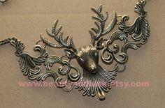 vintage style elk deer antlers necklaceStempunk by BeautyandLuck, $11.99