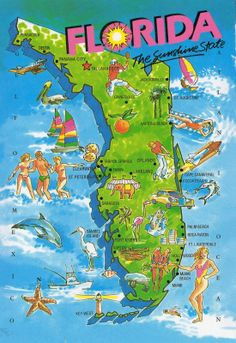 The Sunshine state. Florida is dynamic. I come from many cities in Florida and love every place I go to. Hopefully, one day, I can visit every single city. Florida Girl, Florida Living, Old Florida, Vintage Florida, State Of Florida, Florida Travel, Florida Home, Florida Beaches, Florida Maps