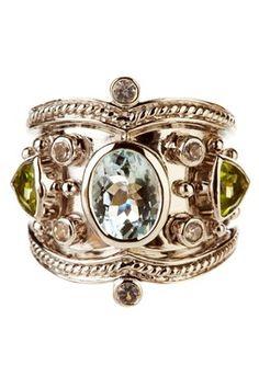 Aquamarine, Peridot & White Topaz Tuscany Ring.  By Savvy Cie.