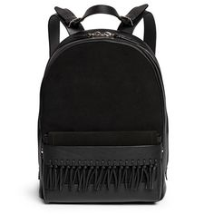 3.1 Phillip Lim 'Bianca' mini fringe pocket leather backpack (63.510 RUB) ❤ liked on Polyvore featuring bags, backpacks, black, leather holdall, day pack backpack, leather fringe bag, leather rucksack and real leather backpack