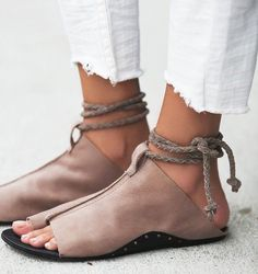 New Free People Cherry Valley Leather Slip-on Lace-up Sandals Tan #FreePeople #SliponLaceupGladiators #Casual