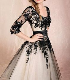 Long modest black lace prom dressesclassic cheap by Glamordress