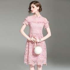 176a5efefd2a WYG Pink Blue Lace Princess Dress 2017 Summer High Quality Runway Half  Sheer Sexy Stand Collar Knee Length Women s Clothing-in Dresses from Women s  Clothing ...