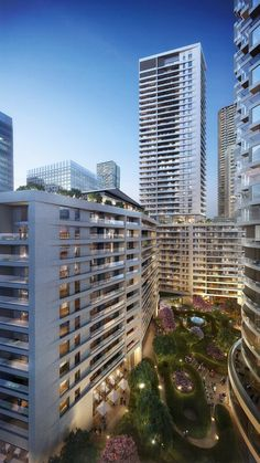 Buildings in Canary Wharf in London by Stanton Williams and Allies & Morrison
