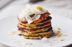 Gluten Free Banana Pancakes with Coconut Yogurt and Toasted Coconut Chips