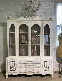 Painted Cottage Prairie Chic One of a Kind Vintage China Display Cabinet CC2070 Rose Cottage, Shabby Cottage, Glass Knobs, Glass Door, China Cabinet Display, Jewelry Hooks, Pink Chalk, Painted Cottage, Tea Stains