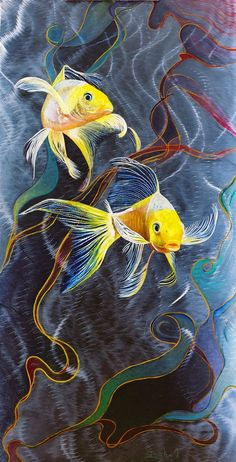 Koi Fish on Metal Painting Yellow Butterfly Koi by by audrey Art Koi, Fish Art, Koi Painting, Underwater Painting, Watercolor Fish, Watercolor Paintings, Fish Paintings, Koi Kunst, Koi Fish Drawing