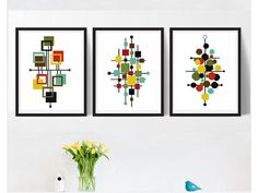 Geometric modern cross stitch pattern, set of 3, Scandinavian minimalistic cross stitch, abstract, easy counted cross stitch, pdf