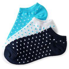 Aeropostale 3-Pack Polka Dot Ped Socks ($5) ❤ liked on Polyvore featuring intimates, hosiery, socks, classic navy, dot socks, polka dot socks, navy socks, low cut socks and aéropostale