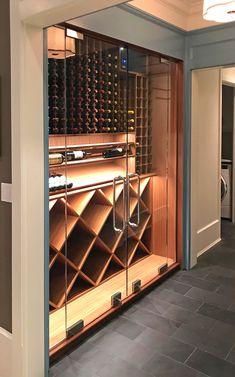 Wine Room- Chicago Modern Wine Room with glass doors Wine Storage Cabinets, Wine Rack Storage, Wine Rack Wall, Wine Wall, Wine Racks, Storage Cubes, Cabinet Storage, Wine Cellar Modern, Glass Wine Cellar