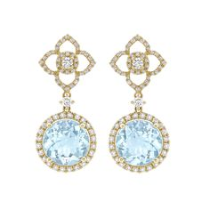 Aurora Blue Topaz and Diamond Drop Earrings in 18k white gold from the Aurora collection