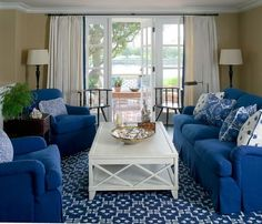 Howard Personal Shopper — Recent Projects — Blue Beach House — living/family room featuring bright-blue couch and pair of armchairs, with white accents, and blue-and-white patterned pillows Blue Beach, Home Room Design, White Rooms, Living Area, Living Rooms, Living Spaces, Beach House, Like4like, New Homes