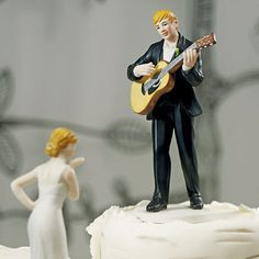 love serenade, guitar, guitar playing, groom, handsome, music, mix and match, mix & match, husband, wife, bride, groom, cake, cake topper, topper, hand painted, hand-painted, porcelain, hair color, wedding, reception, wedding reception, figurine