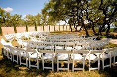 Gorgeous ceremony setup for an outdoor wedding - ceremonies in the round!