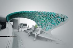 MARC FORNES / THEVERYMANY is an art and architecture studio based in NYC, specializing in computational design and digital fabrication. Architecture Concept Drawings, Futuristic Architecture, Art And Architecture, Bus Stop Design, Bus Shelters, Architecture Magazines, Shade Structure, Bus Station, Urban Furniture
