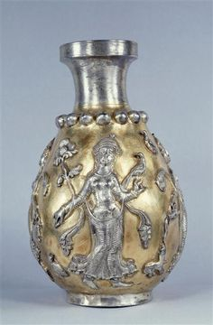 5th-6thc Sassanid gilded bottle which shows 4 dancers in relief. Not Seljuk, but good scene of dancers with scarves. Similar to the Jausak Palace painting. - Louvre.