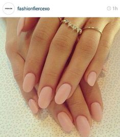 Soft pink oval nails