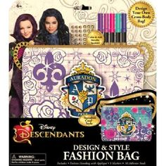 Disney Descendants Design & Style Fashion Bag - AuradonDesign your own cross-body bagColor & add metalic sparkle!Ages 6+The stakes are high for these Disney villains' descendants to prove themselves! These villainous descendants (Carlos, Mal, Evvie and Jay, respectively) are allowed into the kingdom to attend prep school alongside the offspring of iconic Disney heroes including Fairy Godmother, Sleeping Beauty, Rapunzel and Mulan. However, ...