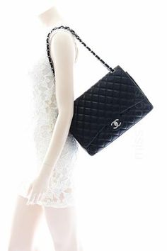 Chanel Black Quilted Lambskin Classic Maxi Jumbo Double Flap Bag | Lollipuff