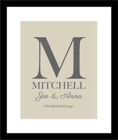 "Personalized Wedding Gift Family Monogram Name Print  - First Anniversary Paper Gift - 11""x14"". $21.00, via Etsy."