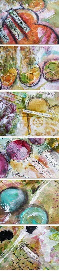 Texture art journaling by Roben Marie...great to see this example because when I strive for lots of texture, sometimes it seems like everything gets too dark...