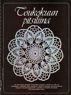 Vuonna 1982 Suuri Käsityö -lehden tilaajat saivat lehdestä monta ihanaa pitsiliinan mallia. Crochet Doilies, Knit Crochet, Crochet Diagram, Handicraft, Dream Catcher, Tatting, Crochet Earrings, Retro, Diy