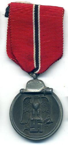 A nice mid to late war Russian Front Medal in nice used condition. The medal is the late war zinc style where the finish has faded to a dark grey to the center and silver grey to the edge. http://www.war-medals.com/medal-pictures/r47.html