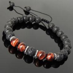 Handmade Hommes Femmes Bracelet Lava Rock 925 Sterling Argent Crâne À faire soi-même Karen 376