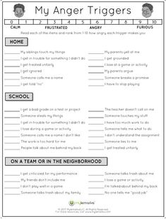 Therapeutic worksheets focused on helping kids and teens explore feelings of anger. Tools assist kids with identifying anger triggers and healthy anger management techniques. Teaching Social Skills, Social Emotional Learning, Classroom Behavior, Classroom Management, Counseling Activities, Anger Management Activities For Kids, Family Therapy Activities, Social Work Activities, Counseling Worksheets