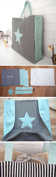 Quick Market Tote Bag Sewing Tutorial. It's a great simple and versatile tote bag that is easy to sew and can be customized a bunch of different ways. http://www.handmadiya.com/2016/10/market-bag-tuto (Diy Bag)