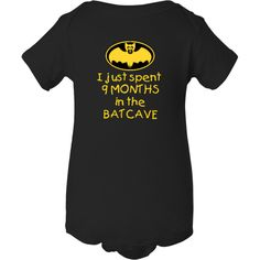I just spent 9 MONTHS in the BATCAVE Little Infant Creeper Black $15.99 www.inktastic.com #9months #batcave #funny #onesie