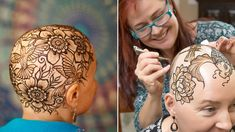 In this article, henna artist Leah Reddell explains what henna crowns are, and how they help empower women with hair loss from chemotherapy or alopecia areata. Crown Tattoos For Women, Crown For Women, Henna Ink, Henna Hair, What Is Henna, Kopf Tattoo, Scalp Tattoo, Chemo Hair Loss, Amber Hair