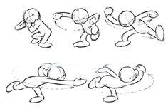 """Esta imagem é do livro """"Cartoon Animation"""" e pertence ao ilustrador e autor Preston Blair.  Esta sequência representa os movimentos que antecede e posteriza uma determinada ação. Chama-se Antecipação e Reação. Este estudo é importante para se representar uma ação ou mesmo a intenção dela. www.darlion.com.br"""