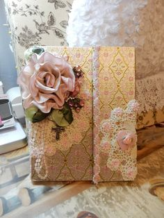 Journal Embellished With Hand Crafted Rose and by touchograce