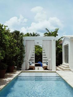 Outdoor garden pool house design white cabana with curtains drapes