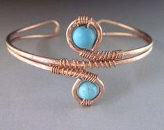Adjustable Copper Turquoise Wire Wrap Cuff Bracelet
