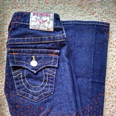 "True Religion jeans Like new, true religion brand jeans. Worn once! Size 25, 33"" inseam. Not sure of style, bought many years ago and just didn't wear them as much as I'd thought. True Religion Jeans"