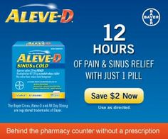 New Printable Coupon: $2/1 Aleve D Coupon : #Coupons Check it out here!!