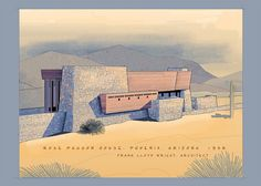 Rose Pauson House. 1939. Phoenix, Arizona. (1942 destroyed by fire) Frank Lloyd Wright.
