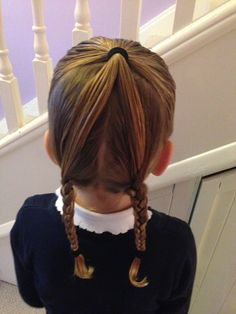 Half up, half down pigtails 5 mins school hair