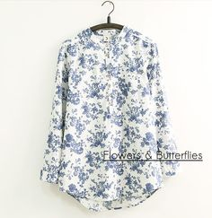 2016 Spring Collar Restoring Ancient Ways Of Blue And White Porcelain Printing Loose long-sleeved blouse White Button Shirt, Classic White Shirt, Shirt Sale, Cut Shirts, Mandarin Collar, Shirt Blouses, Blouses For Women, Long Sleeve Shirts, Fashion Outfits