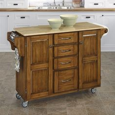 Kitchen Island Cart Home Styles Create-a-Cart Warm Oak Kitchen Cart With Stainless Top Kitchen Furniture, Oak Kitchen, Kitchen Tops Granite, Kitchen Island With Granite Top, Kitchen Remodel, White Kitchen Cart, Cherry Kitchen, Kitchen Dining Furniture, Kitchen Design