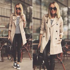 Converse with trench coat and stripe shirt