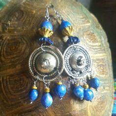 Afghan Button Earrings Tribal Kuchi Bohemian Gypsy Festival Bohemian Gypsy, Bohemian Jewelry, Button Earrings, Drop Earrings, Gypsy Look, Clay Beads, Boho Fashion, Dangles, Fashion Accessories