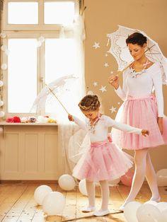 ballerina princess with parasol - mother daughter costume, crown braid #burdastyle