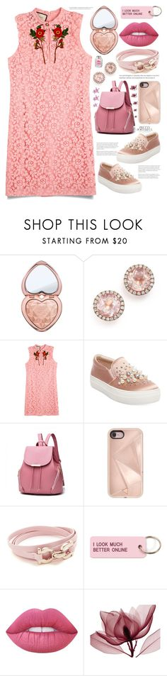 """""""Pink"""" by avfranz ❤ liked on Polyvore featuring Too Faced Cosmetics, Dana Rebecca Designs, Gucci, Steve Madden, Rebecca Minkoff, Salvatore Ferragamo, Various Projects, Lime Crime and Farhi by Nicole Farhi"""