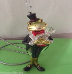 Frog Ornament Hand Painted Glass Tuxedo Kermit Romance Wedding Groom Christmas