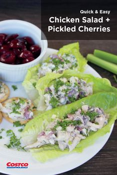 Pickled dark, sweet cherries add a surprising tang to this delicious chicken salad recipe. Pickled Cherries, Sweet Cherries, Healthy Meals, Healthy Eating, Healthy Recipes, Chicken Salad Recipes, Soup And Salad, Quick Easy Meals, Fresh Rolls