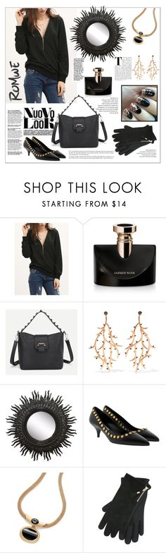 """Romwe.Black Zipper V Neck Plain Sweatshirt"" by natalyapril1976 ❤ liked on Polyvore featuring Bulgari, Noir Jewelry, Prada and M&Co"