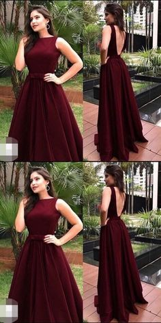 Charming Burgundy Prom Dress, Long V Back Prom